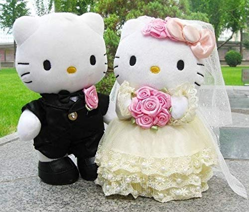 Collectible action figure model toy 1 Pair Hello Kitty Toys Wedding Couple Gifts Hello Kitty Cat Stuffed Plush Toys Soft Doll Pillow Cushion Birthday Gift 22-30CM (22cm (8.7 inch)) ()