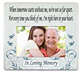 BANBERRY DESIGNS When Tomorrow Starts Without Me Ceramic Memorial Picture Frame - Beautiful Tribute to The Loss of a Loved One - Traditional Design Goes with Any Decor - Great As a Keepsake Plaque