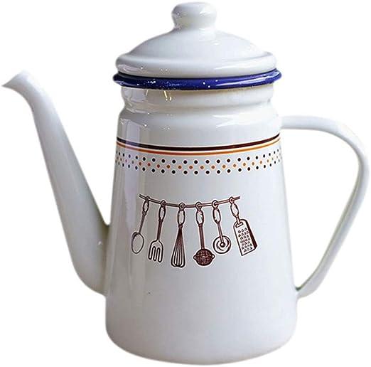 Cafetera casera Lavada a Mano esmaltada, hervidor, Olla de Aceite ...