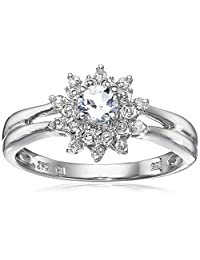 Sterling Silver Gemstone and Diamond Star Halo Ring (1/10 cttw, I-J Color, I2-I3 Clarity)