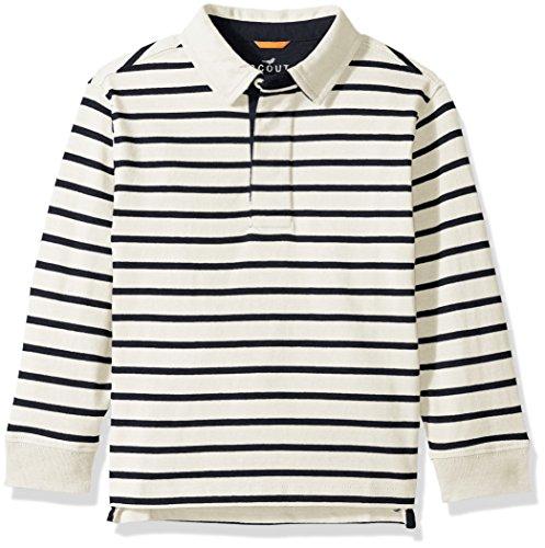 Scout + Ro Big Boys' Stripe Rugby Shirt, Essex Ivory/Swim Navy, 10