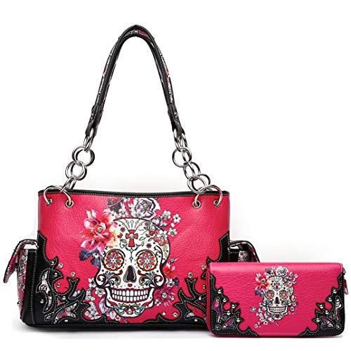Sugar Skull Rose Flower Day of the Dead Concealed Carry Purse Totes Women Handbag Shoulder Bag Wallet Set (Fuchsia Set) -