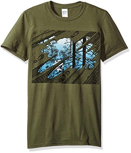 M.C. Escher Men's M.C. Escher Puddle Tracks Graphic T-Shirt, Military Green, X-Large