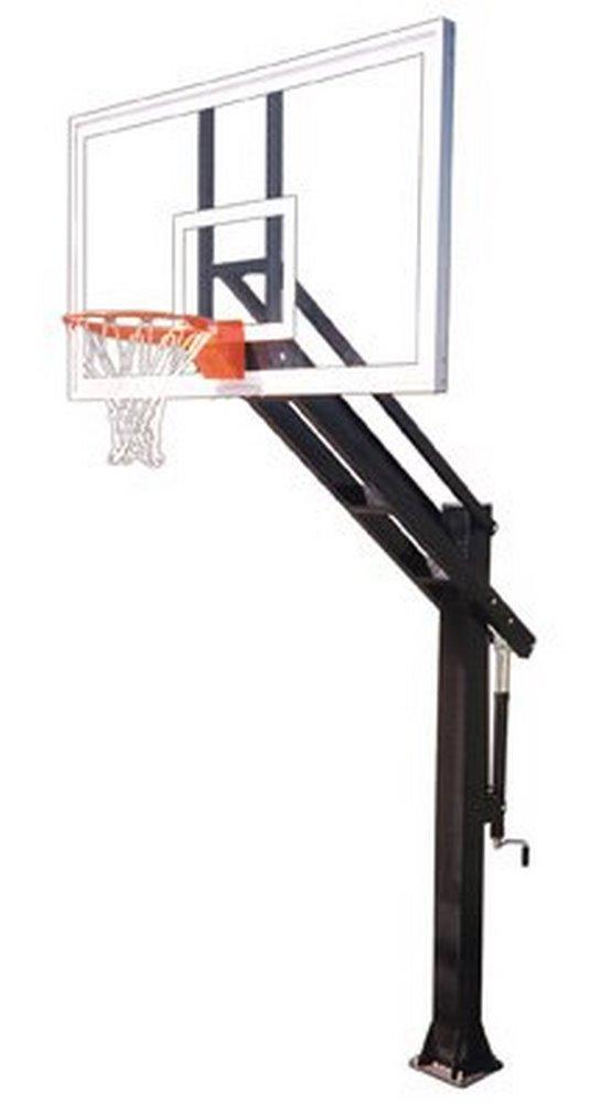 最初チームTitan Arena steel-glass in ground調整可能バスケットボールsystem44、ブラック B01HC0E0GK