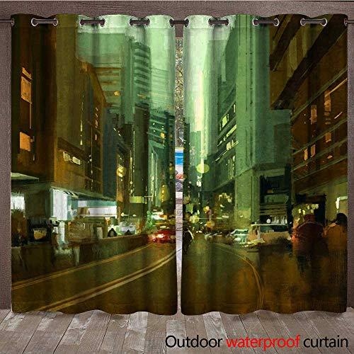 BlountDecor Porch Curtains Street in Urban City at Evening Waterproof CurtainW108 x L108 ()
