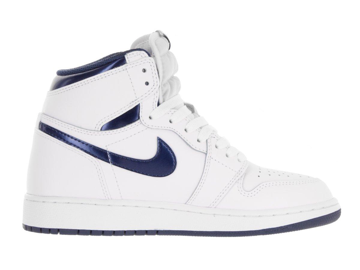 Jordan Nike Kids Air 1 Retro High OG BG White/Midnight Navy Basketball Shoe 4 Kids US
