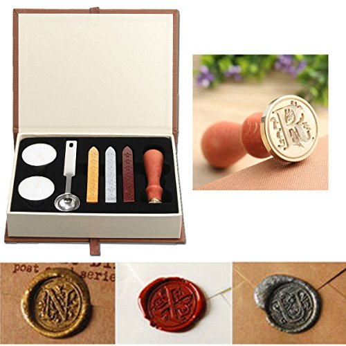 (Seal Wax Kit,PUQU Vintage Initial Letters A-Z Alphabet Wax Badge Seal Stamp Kit Wax Set Tool Gift(R))