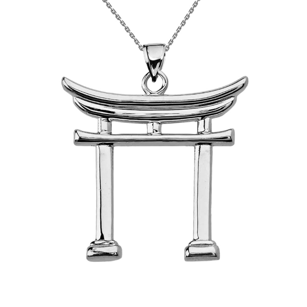 Fine Sterling Silver Japanese Torii Gate Pendant Necklace, 18''