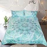 Sleepwish Glowing Lotus Turquoise Mandala Bedding Blue Green Flowers Duvet Cover 3 Piece Vintage Bed Set (King)