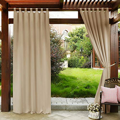 "PONY DANCE Porch Curtains Outdoor - Tab Top Stain Repellant Waterproof Draperies Curtains Light Block Privacy Protect for Patio, 52"" W x 108"" L, Biscotti Beige, Single Piece"