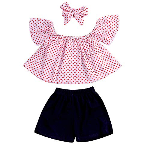 MH-Lucky Baby Girl Clothes Outfits Short Sets 2 Pieces with T-Shirt + Short Pants (Black-Pink, 12-18 Months) ()