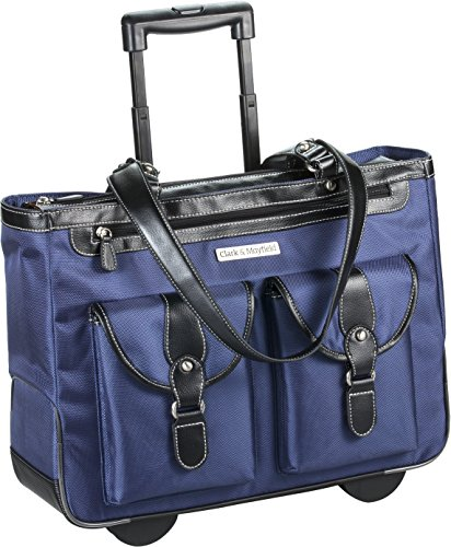 Marquam Rolling Laptop Tote 18.4'' (Navy Blue) by Clark & Mayfield