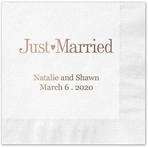Just Married Personalized Luncheon Dinner Napkins - Canopy Street - 100 Custom Printed White Paper Napkins with choice of foil stamp (5176L)