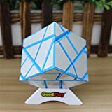 GoodPlay Newest Fangcun Ghost Cube Magic Puzzle Cube Irregular Shape Cube 3x3 Puzzle Cube Blue and Silver with One Cube Tripod
