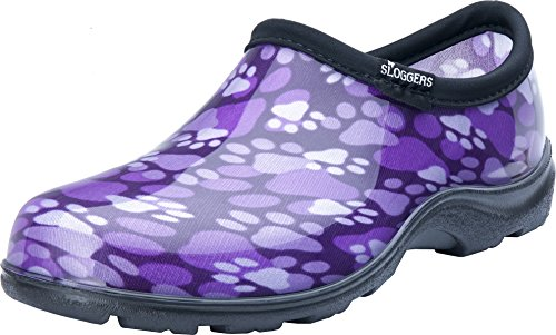 Sloggers Women's Purple Paw Print Rain & Garden Shoes