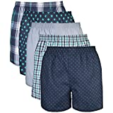 Gildan Men's Woven Boxer Underwear (Pack of 5), Assorted Navy, Medium