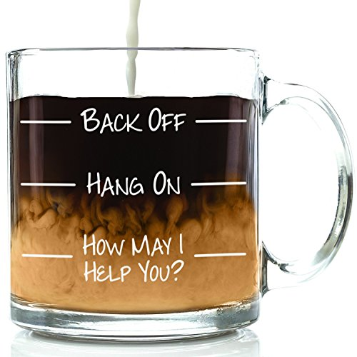 Back Off Funny Glass Coffee Mug - Best Birthday Gift For Friends, Men & Women - Fun & Unique Office Cup - Novelty Present Idea For Mom, Dad, Husband, Wife, Boyfriend, Girlfriend, Coworkers, Him or Her