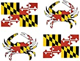 wheezeway Maryland Flag & Blue Crab Vinyl Sticker (4 Pack of 2 Crab Stickers & 2 Flag Stickers)