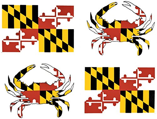 Crab Maryland - wheezeway Maryland Flag & Blue Crab Vinyl Sticker (4 Pack of 2 Crab Stickers & 2 Flag Stickers)