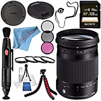 Sigma 18-300mm f/3.5-6.3 DC MACRO OS HSM Contemporary Lens for Canon EF #886101 + Sony 128GB SDXC Card + Lens Pen Cleaner + Fibercloth + Lens Capkeeper + Deluxe Cleaning Kit + Flexible Tripod Bundle
