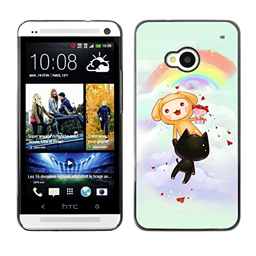 Soft Silicone Rubber Case Hard Cover Protective Accessory Compatible with HTC ONE M7 2013 - Cute Rainbow Cats Party