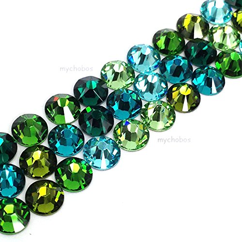 144 Swarovski 2058 Xilion / 2088 Xirius Rose crystal flat backs No-Hotfix rhinestones GREEN & TEAL Colors Mix ss20 (4.7mm)