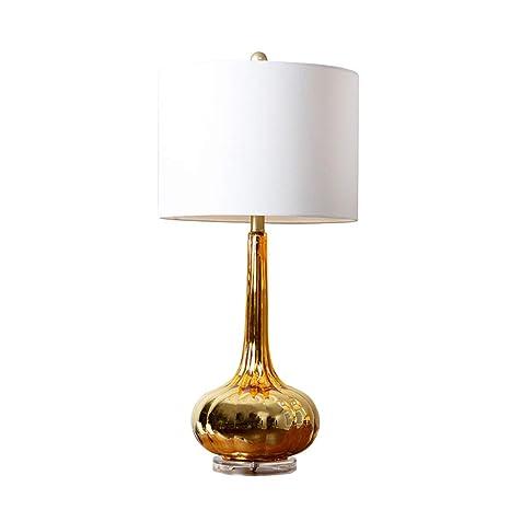 Lámpara de sobremesa dorada estudio salón vidrio mesa ...