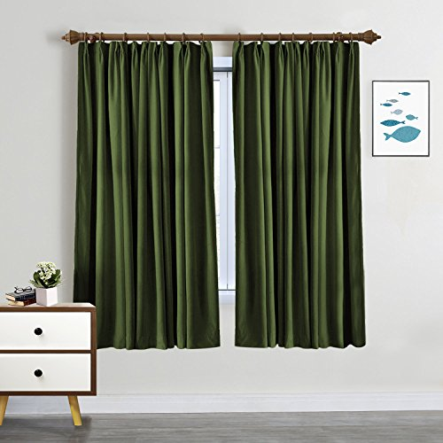 SeeSaw Home Room Darkening Solid Thermal Insulated Pinch Pleat Window Panel Door Curtains/Draperies for Patio,Restaurant,Hotel,52W By 63L Inch,1 Panel,Green