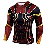 Mens Dri-Fit Compression Shirt - Super Heros Spider Sports Workouts Running Tee
