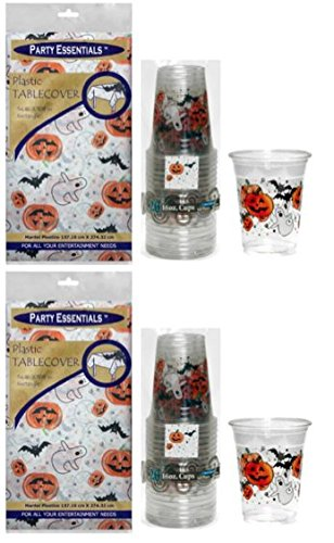 Party Essentials Heavy Duty Printed Plastic Table Cover 54 x 108 and Matching Soft 16oz Cups; Bundled by Oasis Mercantile (2, Halloween)