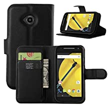 Flip Case for Motorola Moto E2 XT1527 XT1511 XT1505 XT1524 ANGELLA-M Retro Litchi Texture PU Leather Wallet Stand Case - Black