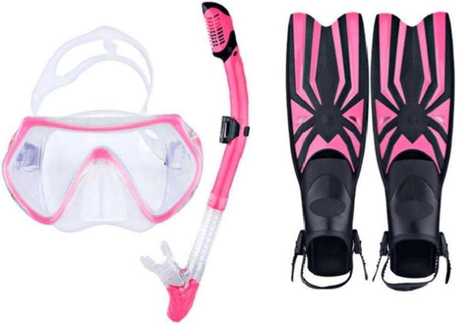スノーケルマスクフィンセット、大人や子供のための簡単な呼吸防曇防止リークパノラマビュースノーケルフルセット YANW ピンク S/M