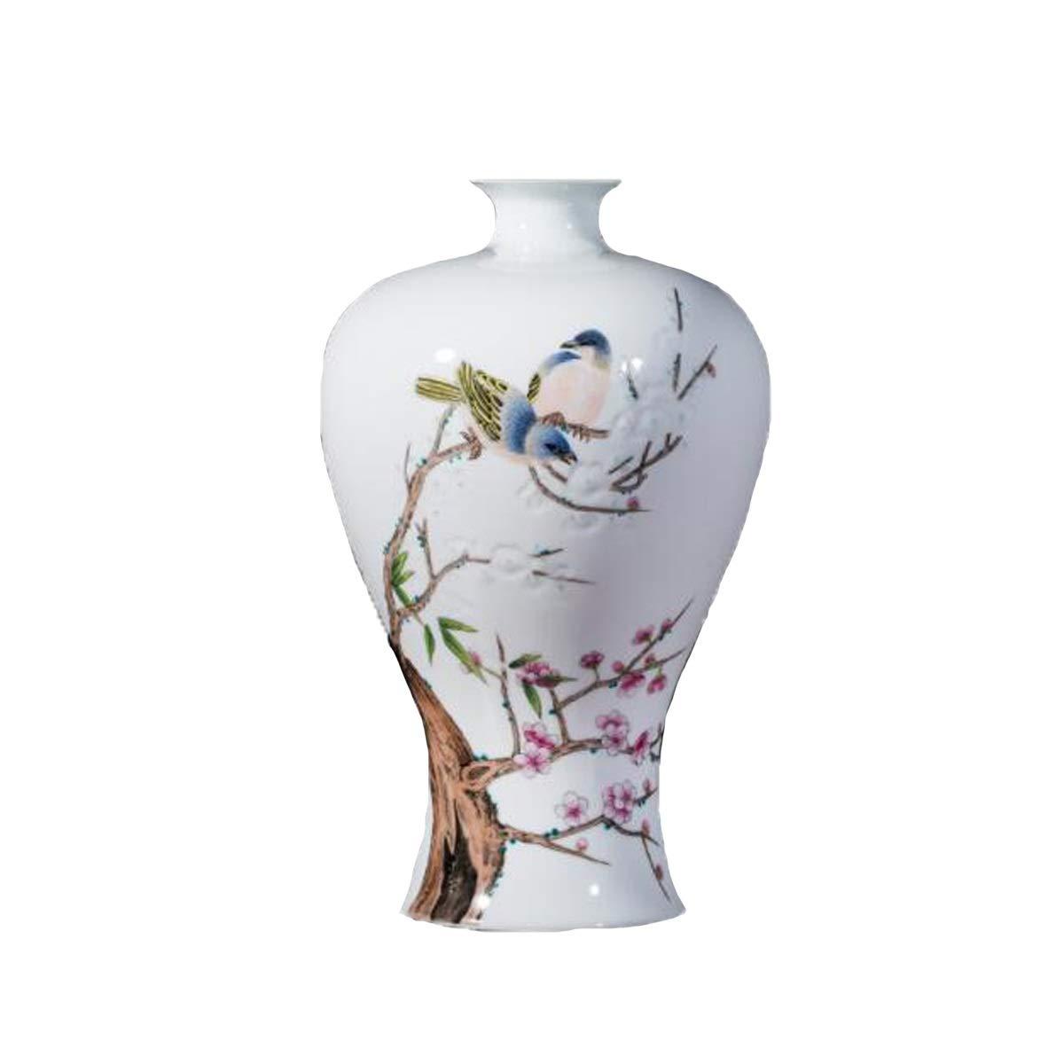 SHENGSHIHUIZHONG 花瓶の装飾、景徳鎮セラミック花瓶、梅瓶の装飾、手描きのパステル中国風リビングルームワインキャビネットの装飾の装飾、明海五福 中華風 (Color : White) B07SWZ9RG6 White