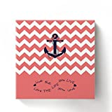 Anchor Love The Life You Love Chevron Zig Zag Ripple Coral White - Oil Painting On Canvas with Wood Frame Modern Wall Art Pictures For Home Decoration,12''x12''