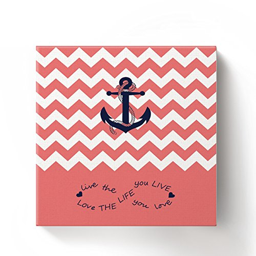 Anchor Love The Life You Love Chevron Zig Zag Ripple Coral White - Oil Painting On Canvas with Wood Frame Modern Wall Art Pictures For Home Decoration,12''x12'' by Prime Leader (Image #1)'