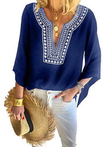 Asvivid Womans Boho Tops Embroidered Bell Bat 3/4 Sleeve Blouse Casual Loose Summer Notch V-Neck Tee Work Office Tops L Blue