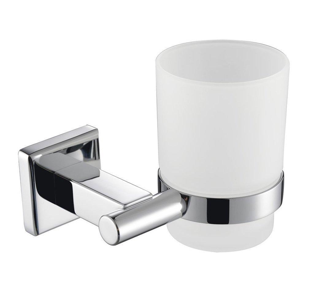 KES Bicchieri Porta Spazzolini Singola Con Supporto SUS 304 Acciaio INOX Bagno Montaggio a Parete, Lucidato, A2250 KES Home