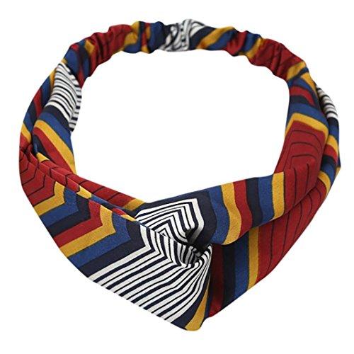 OWMEOT Women Headband Boho Floal Style Criss Cross Head Wrap Hair Band (Multicolor A)