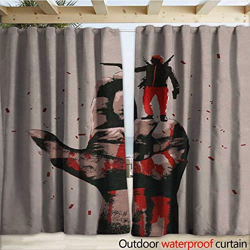 warmfamily Outdoor Door Curtain Big Hand in Gun Sign with Man Shooting Gun Outdoor Curtain W120 x L96