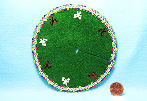 Dollhouse Miniature Christmas Tree Skirt Green Multi Ribbon & Bows DH- - My Mini Fairy Garden Dollhouse Accessories for Outdoor or House Decor by New Miniature