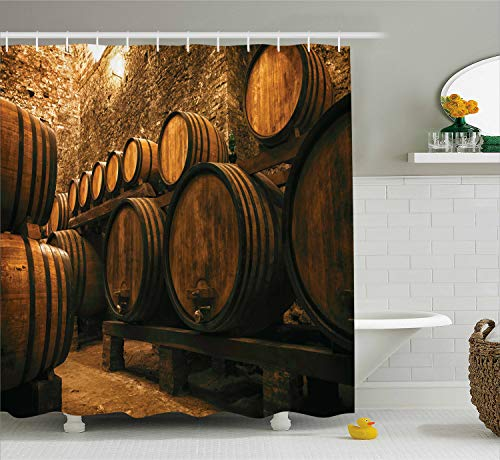 (Ambesonne Winery Decor Collection, Barrels for Storage of Wine Italy Oak Container in Cold Dark Underground Cellar , Polyester Fabric Bathroom Shower Curtain, 84 Inches Extra Long, Sienna Peru Brown)