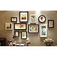 Qi Solid Wood Photo Wall Creative Combination Decoration Photo Frame Living Room Retro Background Photo Wall 11 Pieces (Size: 134*76Cm),White