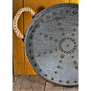 "16"" Rope Handle Galvanized Serving Tray - Excellent Home Decor - Indoor & Outdoor 11"