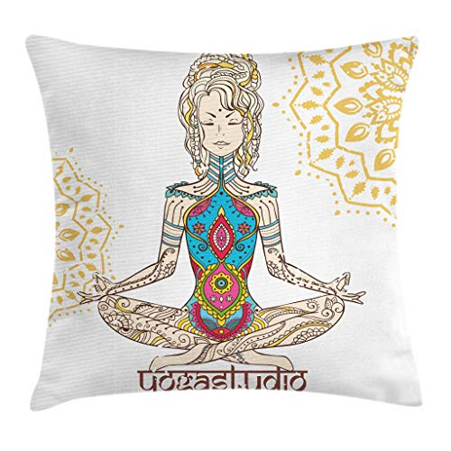 Ambesonne Chakra Decor Throw Pillow Cushion Cover, Girl in Yoga Position with Ethnic Figures on Her Body Physical Force Belief Pattern, Decorative Square Accent Pillow Case, 16 X 16 Inches, Multi