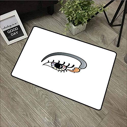 LOVEEO Dog Doormat,Eyelash Makeup Artistic Design with Colorful Eye and Brush in Cartoon Style Cosmetics Theme,Bathroom mat,31