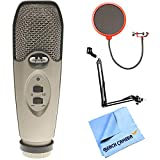 CAD Audio U37 USB Large Diaphragm Cardioid Condenser Microphone w/Tripod, 10' Cable Silver + Microphone Wind Screen w/Mic Stand Clip + Microphone Suspension W/Boom Scissor Arm Stand