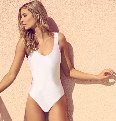 Aidonger - Mujer tankini monokini Blanco