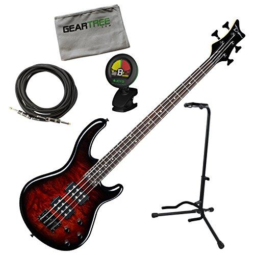 Dean Edge 2 Burled Maple Tobacco Burst 4-String Bass Guitar w/Geartree Cloth, S