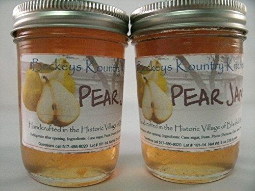 Pear Jam Two Jars Beckeys Kountry Kitchen Homemade Jam and Jelly Fruit Spread, Fruit Preserves