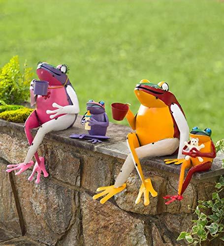 Plow & Hearth Recycled Metal Frog Family Garden Art - Set of 4 (Metal Frog Art)